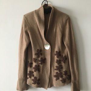 BODEN beige cashmere wool cardigan sweater size 12